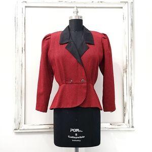 Vintage 90s Harringbone Color Block Blazer Jacket